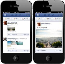Facebook, размер фото, мобильная версия,  лента новостей